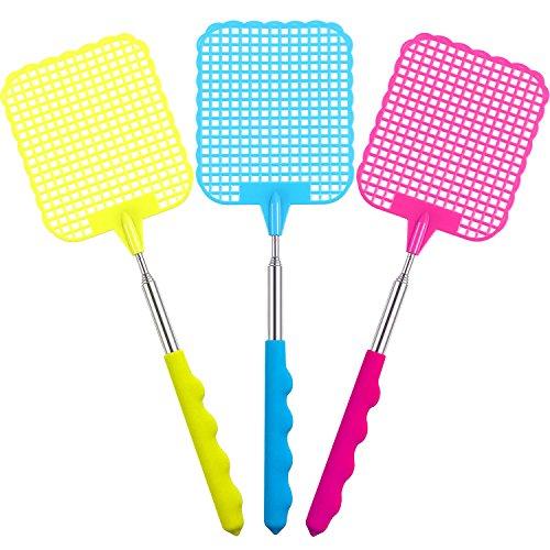 Ausziehbare Kunststoff-Hand Fliegenklatsche Fly verhindern Pest Dauerhaft Mosquito Tool Edelstahl, Rose Rot, Gelb, Blau 3 Packung (Mehrfarbig A)