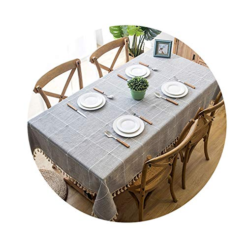 DreamZX Rectangle Checkered Tassel Tablecloth, Washable Table Cloth Cotton Linen Fabric Table Covers Tablecloth for Kitchen Dinning Party Birthdays Christmas Party (Color : Gray, Size : 140 * 140cm)