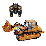 VAlinks 5 Channel RC Bulldozer, Remote Control Excavator, Full Functional Front Loader Construction Vehicles Toy with 2.4Ghz Transmitter and Shovel Lights, Simulation Sound for Kids Gift