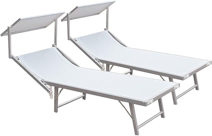 2 pezzi lettino mare bianco stabilimento spiaggia alluminio 183x38x61 sdraio 780/54b B00L1DE3ZI