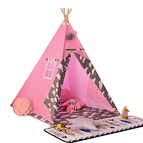 Liergou Childrensplay Tent Kids Tipi Pink Play Tent Playhouse For Children Indoors Outdoors Gift for Kids (Color : Pink, Size : ONE SIZE)