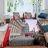 Juego de cama moderno de 3 piezas para niños, famoso diseño de Londres, funda de edredón roja y funda de edredón Big Ben de microfibra con 2 fundas de almohada (sin edredón), tamaño doble