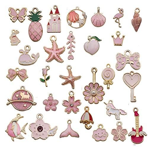 Ciondoli Assortiti Smaltati 31 Pezzi Ciondoli di Creazione di Gioielli ,Assortiti Ciondolo conchiglia e stella marina Ciondoli Bracciale Collana per Creazione di Gioielli Fai-Da-Te