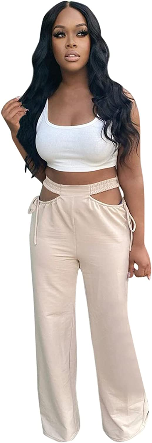 JINRS Women's Cut Out Wide Leg Pants High Waist Side Cutout Relaxed Fit Straight Flare Trousers Pant with Drawstring Comfy