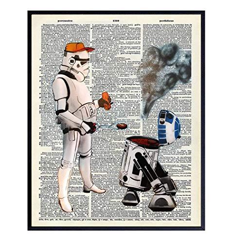 Star Wars Poster, Star Wars Decor - R2D2 Stormtrooper BBQ Graffiti Wall Art for Kitchen, Dining Room, Bedroom, Living Room, Dorm, Home - Unique Starwars Decoration or Gift for Men, Boys, Teens