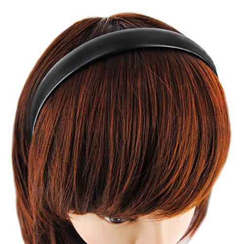 axy Haarreif Classic Vintage Leder Haarreifen Leather Hair band HR27CS (Schwarz)