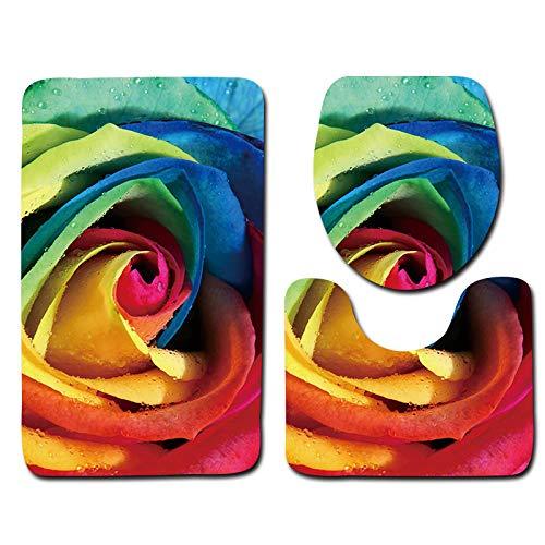Alfombrillas De Baño Juego De 3 Piezas - Rosas De Colores, Secado rápido Antideslizantes Alfombra de Pedestal + Tapa de Inodoro + Alfombrilla de baño(50 x 80 cm)