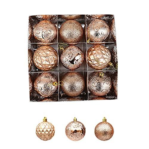 FUBAIDM Bagattelle di Natale, Sfere dipinte a Forma Speciale, Palline di Decorazione Natalizia, Palle di Natale Che Possono Essere utilizzate per Finestra/Negozio/Decora Champagne Gold