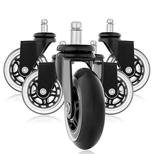 aoory Set von 5 Rollerblade Style Gummi Ersatz Räder Bürostuhl Caster Wheels für Ihren Schreibtisch Stuhl Ruhige Rollläden