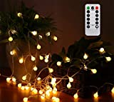 AMARS 33FT Battery Operated Globe String Lights with Remote Timer Room Hanging Fairy Lights for Christmas, Bedroom, Tapestry, Indoor, Outdoor, Party, 8 Modes, Waterproof, Dimmable (Warm White)
