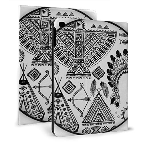 Ipad 9.7 Inch Case 2018/2017 Ipad Air 2/1 Case, Feather Ethnic Teepee Tent Bow And Arrow Art Protective Stand Cover With Auto Sleep/Wake For Ipad Tablet