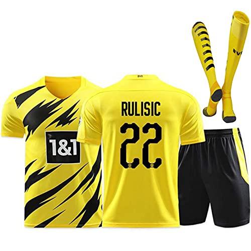 Traje De Fútbol 2021, Camiseta De Dortmund, Camiseta De Fútbol Local Y Visitante 20-21, Camiseta De Uniforme De Fútbol De Camiseta Para Niños Adultos + Pantalones Cortos + Calcetines,Amarillo,28
