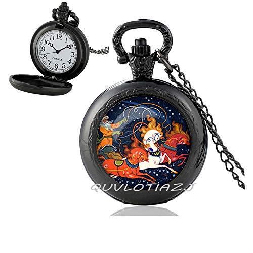 QUVLOTIAZJ Christmas Pocket Watch Necklace,Christmas Horse Jewelry,Russian Christmas Art Pendant,Best Friend Pocket Watch Necklace,Simple Pocket Watch Necklace,Everyday Pocket Watch Necklace,ot228
