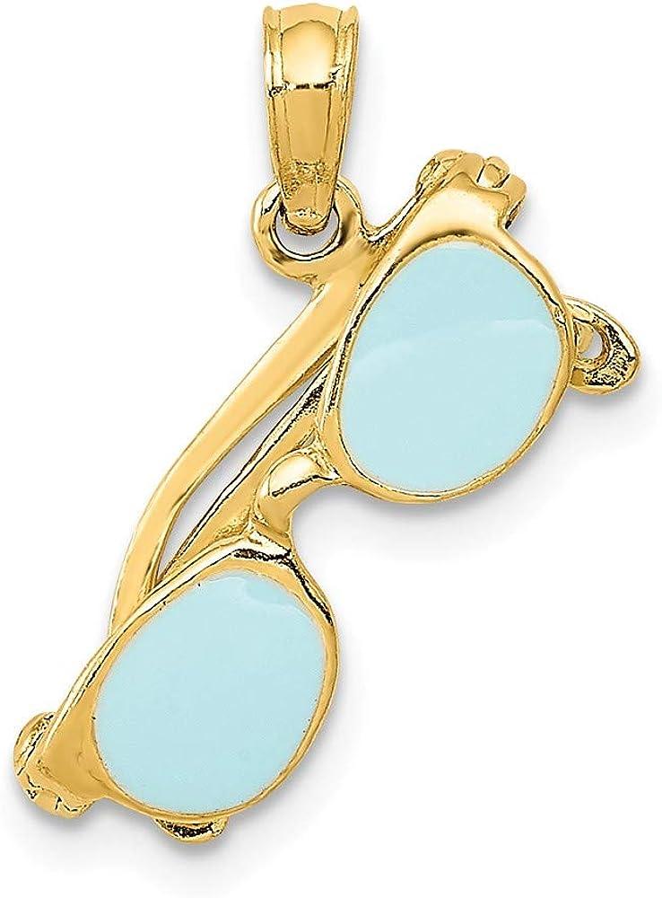 Solid 14k Yellow Gold Our shop most popular Aqua Enameled 1 Pendant Charm - Max 75% OFF Sunglasses