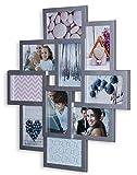 levandeo Fotocollage Bilderrahmen 55x50 mit Glasscheiben für 10 Fotos 10x15cm Silber...
