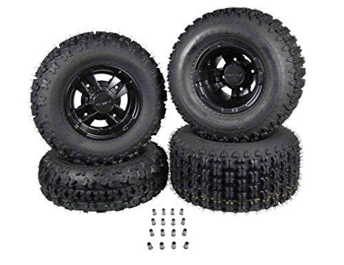 "21"" FRONT 20"" REAR Fits HONDA TRX450R & TRX400 BLACK MASSFX Rims & Tires Front & Rear Wheel and Tire Kit"