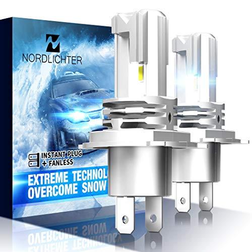 N NORDLICHTER H4 LED Headlight Bulb, Fanless 9003 Ultra Bright 10000Lm 6500K Conversion Kit Cool White, Pack of 2