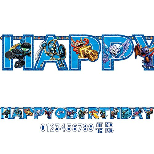 "Amscan Swashbuckling Skylanders Jumbo Add an Age Letter Banner Birthday Party Decoration (1 Piece), 10 1/2' x 10"", Blue"
