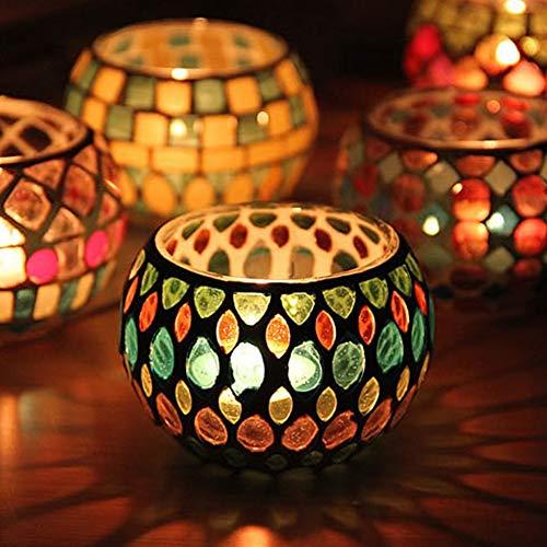 XINDUI Portacandele votivo in Vetro Mosaico Marocchino Candelabro candelabro Candeliere in Vetro Portacandele Ornamento da Tavolo per Feste(E)