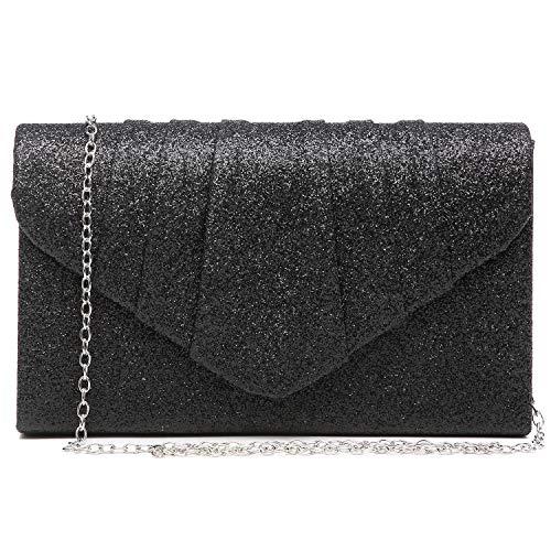 Dasein Women Glistening Evening Bags Pleated Clutch Handbags Wedding Purses Cocktail Prom Hand Pouch Black