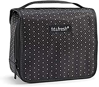 Fit & Fresh Hanging Toiletry & Makeup Bag for Travel, College Dorm & Home Organization, Women, Black & White Dots