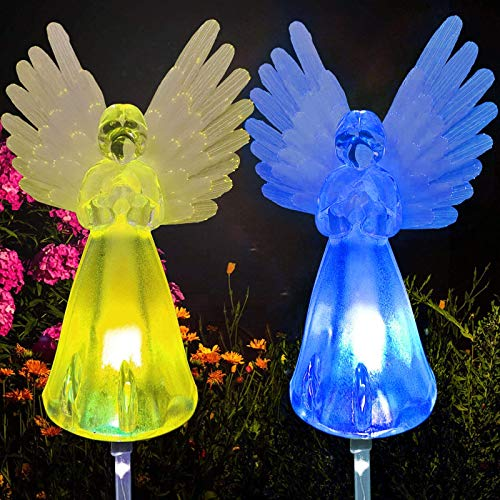 2 Pack Outdoor Solar Powered Angel Statues for Garden Cemetery Decorative Light, Stakes Multi-Color Changing LED Waterproof Lawn Decor for Patio Yard Cemetery Grave Gravesites, Perfect Memorial Gift.