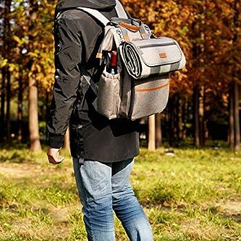 HappyPicnic Sac à dos de pique-nique pour 4 personnes avec pochette étanche isolée pour le camping familial en plein air - Kaki