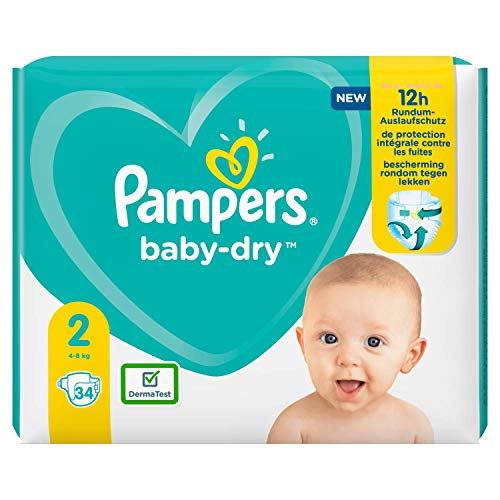 Pampers Baby-Dry Größe 2, 34 Windeln, bis zu 12 Stunden Schutz, 4-8kg