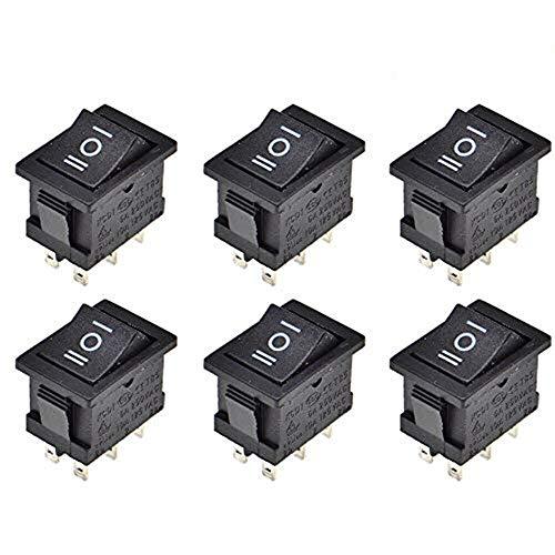 SJUNJIE 6 Piezas Interruptor Basculante DPDT ON/OFF/ON 6 Terminales 3 Posicion 16A 250V 20A 125V AC Rocker Interruptor para Auto Barco Electrodoméstico(Negro)