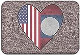 Halbe Laos-Flagge, halbe USA-Flagge Liebesherz-Fußmatte für den Innenbereich im Freien, Willkommens-Eingangsmatten, leicht zu reinigen