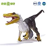 RECUR Large Velociraptor Toys Figure Velocisaurus with Feathers Realistic Real Feel Dinosaur for Kids, Children, Toddlers Great Gift for Birthday Present, Party Favor, Christmas, Desk Decoration