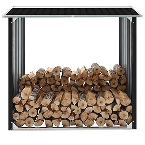 vidaXL Brennholzlager Kaminholzunterstand Brennholzregal Brennholzunterstand Kaminholzständer Holzlager Verzinkter Stahl 172x91x154cm Anthrazit