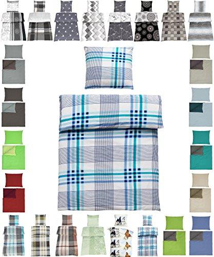 Parure de lit en coton renforcé 2 tailles avec designs élégants, 100 % coton, Victor Blau, 4 tlg. 135x200+ 80x80 cm