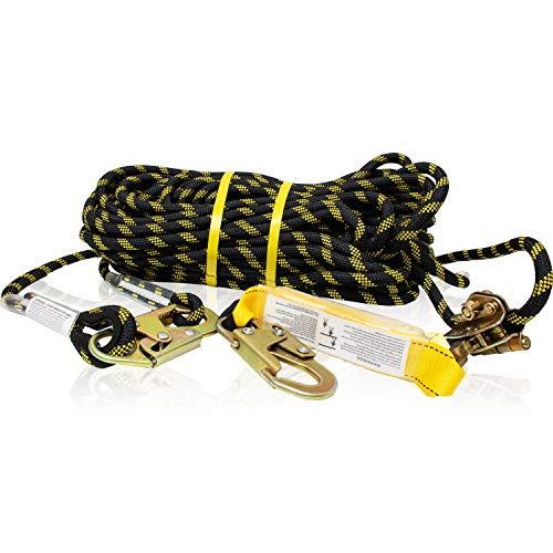 KwikSafety (Charlotte, NC) TSUNAMI (Premium BRAIDED ROPE) Vertical Lifeline Assembly with Rope Grab Snap Hooks Shock Absorber ANSI OSHA Fall Protection Restraint Roofing Safety Equipment | 100 ft.