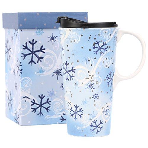 CEDAR HOME Coffee Ceramic Mug Porcelain Latte Tea Cup With Lid in Gift Box 17oz. Snow Flake Flower, Blue