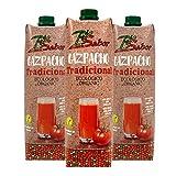 Gazpacho Tradicional Bio Sabor - Gazpacho Fresco Ecológico - Elaborado con Aceite de oliva virgen extra - Para momento del día (Lote 3 Botes de 1 Litro)