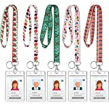5 Pieces Teacher Lanyard Keychain with ID Badge Holder for Women Novelty Education Themed School Teachers Lanyards Key Chain with Vertical Water Resistant Name Badge Holder