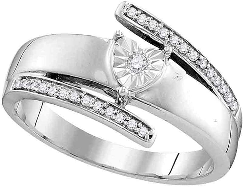Dazzlingrock Collection 14kt White Gold Womens Round Diamond Solitaire Promise Bridal Ring 1/10 ctw