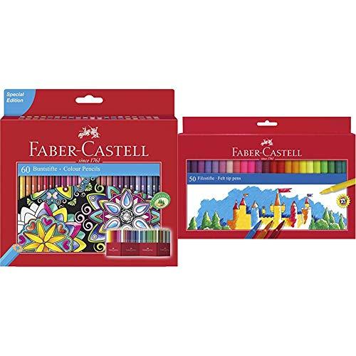 Faber-Castell 111260 - Estuche-soporte de cartón con 60 lápices de, multicolor + 554250 - Estuche 50 rotuladores con punta de fibra, multicolor