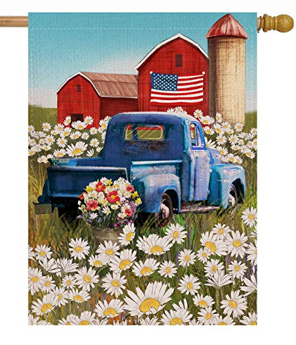 Dyrenson 28 x 40 Home Decorative 4th of July Patriotic Large House Flag Rustic Farm Flower Double Sided Welcome, Old Red Truck Burlap Yard Decoration, Seasonal USA Daisy Outdoor Décor Spring Summer