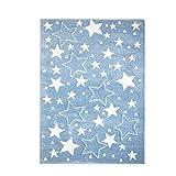 MyShop24h Teppich Kinderzimmer Stern Blau 120x170 cm Kurzflor Kuschelig Deko Kinderteppich für Jungen und Mädchen Oeko Tex 100 Standard