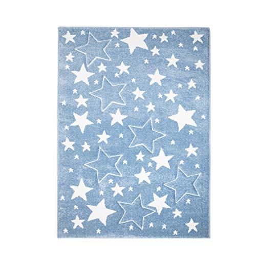 MyShop24h Teppich Kinderzimmer Stern Blau 160x230 cm Kurzflor Kuschelig Deko Kinderteppich für Jungen und Mädchen Oeko Tex 100 Standard