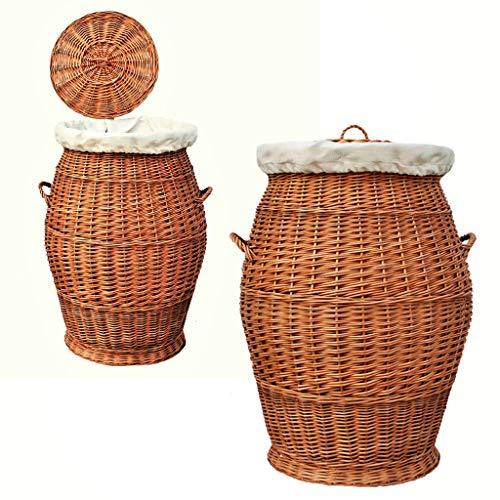 32-70 GalaDis Großer Wäschekorb/Wäschesammler aus Weide geflochten (70 cm) mit herausnehmbarem Einsatz/Innensack und Deckel für die ganze Familie