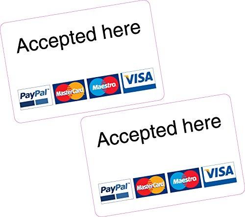 """Aufkleber, mit """"Accepted here"""" Aufschrift, für PayPal-, MasterCard-, Maestro- und Visa-Karten, 2 Stück"""