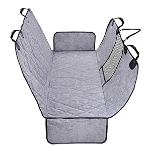 Vivaglory Dog Seat Covers, Mesh Visual Window with Extra Strap & Buckles, Waterproof & Nonslip Car Seat Covers Convert to Bench Seat Cover & Trunk Liner & Dog Hammock, Heather Black S