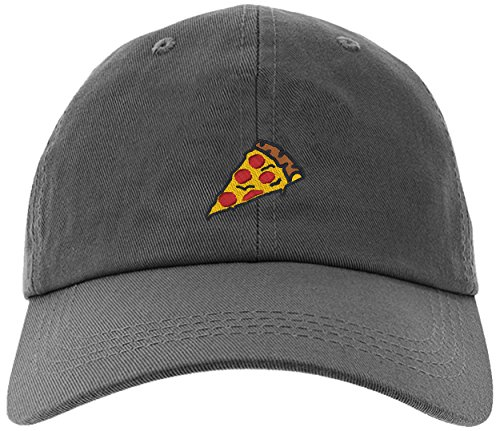 Cap Pizza Slice Pepperoni Embroidery Stitch Baseball Hat-Pizza-EM-0008-Gray
