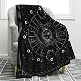Jekeno Sun Moon Blanket Stars Space Psychedelic Black and White Print Throw Blanket for Couch Bed Sofa Travelling Camping for Kids Adults 50'x60'