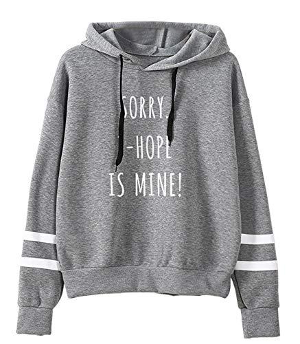 SIMYJOY Unisex Korea POP Hoodie V J-Hoffnung Jimin RM JIN JUNG KOOK SUGA Sweatshirt Slogan Print Gestreifte Langarm Pullover Street Fashion Für A.R.M.Y. grau J-Hope L