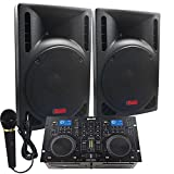 """Starter Dj System - 1600 WATTS - Connect your Laptop, iPod via Blutooth, USB, MP3's or Cd's! 10"""" Powered Speakers, Mixer/Cd Player & Microphone."""