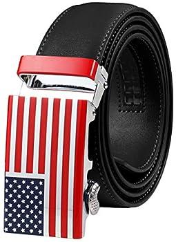 Falari Leather Dress Belt Ratchet Belt Holeless Automatic Buckle Adjustable Size 8001  8172-USA Flag  Black  Fit from 28 to 44